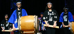 Taiko (Deliberate Spoonerism) Tags: concert taiko drum drumming drums theatre theater music portrait art glasses boy girl drumstick artsy blue canon 50mm headband japan
