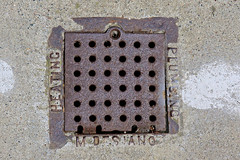 M. Desiano, San Francisco, CA (Robby Virus) Tags: sanfrancisco california sf ca michael desiano plumber heating plumbing metal sewer vent cover sidewalk cement concrete pavement