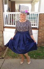 A Bit Of A Curtsy, Admittedly Awkward . . . (Laurette Victoria) Tags: dress easter curtsy silver hat pumps woman laurette lady