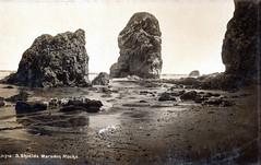 Marsden bay, Pompey's Pillar, South Shields (SouthShieldsPostcards) Tags: old photograph photo bay marsden south shields stacks pompeys pillar sea sand postcard