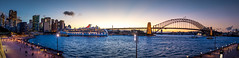 Sparkling Harbour (mdelbridge) Tags: sydneyoperahouse sydney harbour bridge panorama panoramic pano d7200 sigma 18300 australia architecture foreshore water sunset skyline city cityscape seascape