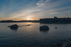 Eastern pier (Ludwig Sörmlind) Tags: bth karlshamn pier water relfection warm sunset clouds