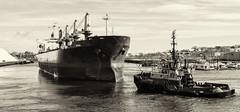 Preparing to Depart (PAJ880) Tags: tug justice bulk carrier sirina boston harbor ma chelsea creek towing transportation black white mono bw urban waterfront