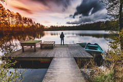 Lonely on the sunset (kubaszymik) Tags: longexpo long exposure vsco canon sunset clouds lake wind windy evening person me water reflection serene silence storm light colors gliwice czechowice poland