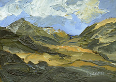 Snowdonia, Mountains of Wales - Original Landscape Painting by Steve Greaves (Steve Greaves) Tags: art artwork paint painting canvas board acrylic mountains hills rugged countryside vangogh kyffin kyffinwilliams impasto allaprima texture olivegreen yellowochre black white cobaltblue marks gestures gestural painterly clouds bluesky north wales welsh cymru paintingknife paletteknife markmaking invest investment barnsley impressionism expressionism impressionist expressionist rocks peaks