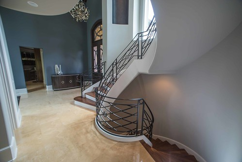 Curved staircase details.
