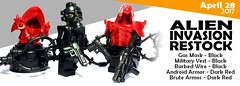 Apr 2017 - Alien Invasion Restock (BrickWarriors - Ryan) Tags: brickwarriors custom lego minifigure weapons helmets armor guns gas mask android brute military vest soldier modern scifi