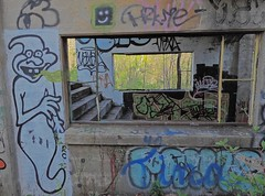 The Goblin (Trains & Trails) Tags: banningnumber1 1 vanmeter pennsylvania old forgotten derelict disrepair abandoned coalmine industry industrial concrete building structure gap greatalleghenypassage graffiti tagged spraypaint artwork goblin window