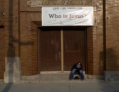 1908 / 2013 / 2038 (GXM.) Tags: street morning sleeping shadow urban chicago church sunrise religion jesus christianity stoop refuge whoisjesus gxm