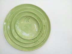 Stamped sea turtle plate set...1369491636246 (Elizabeth's Pottery) Tags: ocean green art water island ceramics turtle plate coastal pottery seaturtle platter serving placesetting loggerhead dinnerware stsimonsisland dinnerplate stcatherinesisland elizabethhayes elizabethhalderson elizabethhayeshalderson