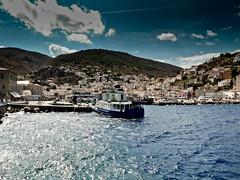 Hydra island (Gbor Ksz) Tags: blue sea summer sky clouds port island ship harbour aegean greece hydra saronic ydra
