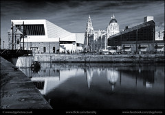 UK - Liverpool - Dockside view_mono (Darrell Godliman) Tags: uk greatbritain england blackandwhite bw reflection monochrome museum architecture liverpool docks reflections mono unitedkingdom britain quay gb toned tinted modernarchitecture quayside dockside contemporaryarchitecture 3xn museumofliverpool 3xnarchitects ukliverpooldocksideviewmonodsc0665