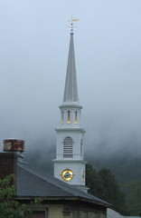 Brattleboro Steeple on a Rainy Evening (amyboemig) Tags: light summer white mist clock rain june clouds evening vermont gallery walk steeple rainy brattleboro strollingoftheheifers
