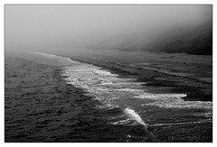 DSC09927_HD.jpg (mikeyp2000) Tags: weymouth water tide shore sea sand ocean nex5n monochrome blackandwhite beach bw waves empty alone lonely foggy walker misty mist fog