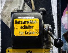 20130628-513 (sulamith.sallmann) Tags: signs berlin yellow deutschland typography energy energie technik gelb typo schrift strom deu hebel zeichen elektrik gelbschwarz typografie twocolors energieversorgung zweifarbig sulamithsallmann netzanschluss schaltelemente