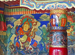 P1020141 Traditional murals and Buddhist decoration in Sankar Gompa. July 5th 2013 PS  (peteshep) Tags: india interior decoration ps leh himalayas ladakh 2013 sankargompa peteshep copyrightphoto samkar fz200 langenlat34174186lon77585307z18mbsearchsankar