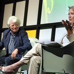 Kate Adie on stage at the 2003 Edinburgh International Book Festival
