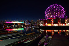 BC Place Glowing Colours of the Rainbow with Pride () Tags: canada reflection water colors skyline architecture night vancouver lights rainbow colorful bc purple nightshot stadium britishcolumbia lifestyle wideangle clear falsecreek edgewater scienceworld bcplace vancouverskyline telusworldofscience pridefestival m43 rainbowcolors mirrorless vancouvernightview microfourthirds thevillageonfalsecreek olympusomdem5 panasoniclumixgvario714mmf40 35thannualvancouverpridefestival