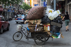 Yunnan Road Recyclist (Lowcola) Tags: street bike bicycle trash shanghai traffic tricycle cardboard vehicle trike recycle recycling   2013  recyclist