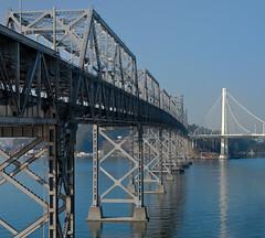 bridge to the future (pbo31) Tags: bridge blue panorama color reflection oakland bay nikon october over large panoramic baybridge bayarea eastbay d200 sas 80 stitched alamedacounty westoakland 2013 easternspan