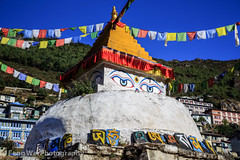Tibetan Buddhist Stupa @ Namche Bazaar (Feng Wei Photography) Tags: travel nepal cloud mountain color tourism expedition beautiful beauty horizontal rural forest trekking trek relax landscape religious scenery colorful asia tour view outdoor stupa religion pray relaxing scenic peaceful buddhism unesco holy journey vista remote lush himalaya khumbu everest himalayas guesthouse ebc namchebazar prayerflag namche tibetanbuddhism sagarmatha namchebazaar solukhumbu