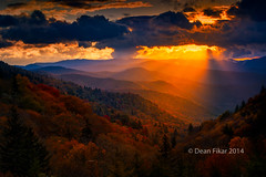 Autumn Sunrise in the Smokies (dfikar) Tags: park morning autumn trees light sky orange foothills mist mountains nature rural sunrise landscape outdoors dawn j early nationalpark twilight haze bravo colorful seasons natural tennessee country scenic peaceful foliage ridge national serene appalachian wilderness smokies ridgeline tranquil daybreak layered greatsmokymountainsnationalpark vision:mountain=0579 vision:sunset=0908 vision:sky=09 vision:clouds=0815 vision:outdoor=0531