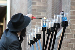 The licht (bobmendo) Tags: synagogue fedora newtown orthodox hanukkah chasid menorah hanukkiah chassid orthodoxjew 9branched
