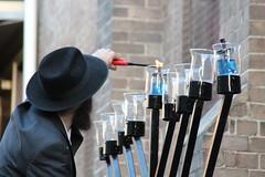 The licht (bobmendo) Tags: synagogue fedora newtown orthodox hanukkah chasid menorah hanukkiah chassid orthodoxjew 9branched