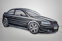 Vauxhall Astra (Chris B70D) Tags: chris car sketches vehicle cars automotive art sketch drawing freehand colour render pro marker letraset graphic pen ink details wheels reflections tone bodywork paint shadow highlights