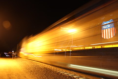 Speeding through Tehachapi! (CaliforniaRailfan101 Photography) Tags: train ace stack ge bnsf vta mpi sanjoseca acex emd pleasantonca burlingtonnorthernsantafe valleytransportationauthority altamontcommuterexpress es44dc gevo vtalightrail tehachapica f40ph3c