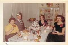 Wheeeee!  Grab your noisemaker and let's party! (sctatepdx) Tags: christmas party snapshot newyear christmastree 1950s newyearseve vernacular 1959 vintageclothes noisemakers vintagefurniture oldsnapshot vintageinterior vintagenoisemakers vintageparty vintagesnapshot