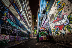 Melbourne Tag (iain blake) Tags: night graffiti long exposure paint melbourne lane colourful hosier