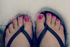 88:365 (hey ~ it's me lea) Tags: pink winter feet toes flipflops enough pinktoenails feedup