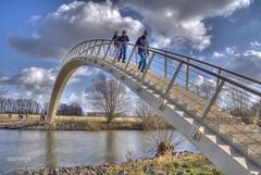 crossing over (stevefge) Tags: people netherlands nijmegen nederland bridges waal nederlandvandaag
