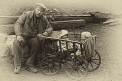 The Reluctant Babysitter (Bob RDX Davies) Tags: babysitter victorian babycarriage blackcountrymuseum raggedvictorians