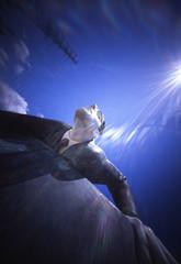 Sculpture (shikihan) Tags: pinhole holga 120 6x9 fujichrome velvia medium japan shizuoka mishima man fly sun sky
