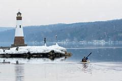 Start of Spring on Cayuga Lake (agladshtein) Tags: tompkinscounty lighthouse cny winter nikond500 people nikkor2470mmf28 destination ny fingerlakes myerspointlight centralnewyork cayugalake newyork scenic camera snow ice frozen myerspark ithaca seagull landscape kayak person