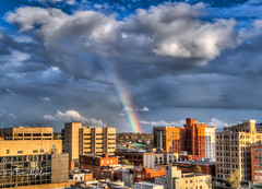 Smack In The Middle Rainbow Roanoke (Terry Aldhizer) Tags: rainbow bow between roanoke city virginia rain weather sky clouds showers buildings optic sunshine terry aldhizer wwwterryaldhizercom smack middle