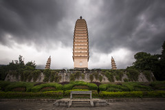 Three Pagodas of Chongsheng Temple in Dali, China (Tim van Woensel) Tags: three pagodas chongsheng temple dali china travel dark sky rain towers yunnan cangshan mountains symmetric triangle buddhist architectures architecture national treasure qianxun pagoda square shaped long exposure tim van woensel
