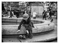 bird_in_hand (peterjcb) Tags: leica dlux4 nyc new york city columbus circle monochrome boy pigeons bird hand street photography