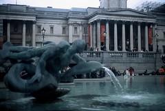 Trafalgar Square (goodfella2459) Tags: nikon f4 af nikkor 50mm f14d lens fujifilm provia 400x 35mm e6 slide film colour london trafalgar square fountain national gallery milf