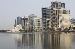 Al Noor Mosque (Wild Chroma) Tags: al noor mosque alnoormosque sharjah reflections skyline skyscrappers buildings lake water