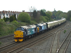 Direct Rail Services Class 37s 37609 and 37259 cruise through Tyseley (Oz_97) Tags: tyseley directrailservices 37609 37259