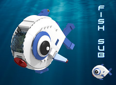 Fish Sub (David Roberts 01341) Tags: lego ldd povray minifigure scifi space submarine underwater fish submersible sub