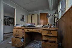 Administration desk (Behind The Signs) Tags: behindthesigns urban exploration urbex abandoned disused abandonné abbandonato verlassen forsake abandonner abbandonare derelict decay épave derelitto baufällig verfallen dark sombre scuro dunkel darkness obscurité oscurità lonely solitaire solitario einsam opuszczony zapomniany wykolejeniec ngc industrial factory stockings bureau administration desk paperwork office