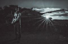 The war is coming (Sergio Nevado) Tags: war guerra tanque tank retrato portrait hombre man amanecer sunrise sol sun landscape paisaje mascara gas mask