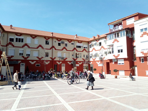 Recently restored buildings in the New Bazaar in Tirana