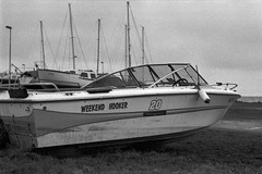Weekend Hooker - Ilfrod Delta 400 (magnus.joensson) Tags: sweden swedish skåne winter coast boat nikon fm3a voigtländer nokton 58mm sl ilford delta 400 stand develop 1100 adox adonal epson v800 scan