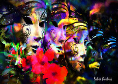 Mysterious (brillianthues) Tags: flowers masks colorful collage photography photmanuplation photoshop