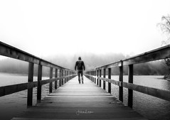 Walk The Line (Fredrik Lindedal) Tags: walk blackandwhite bridge water fog foggy mist moody morning forest pov lindedal silence alone light path pathfinder siluette selfie sweden sverige monocrome bnw bw